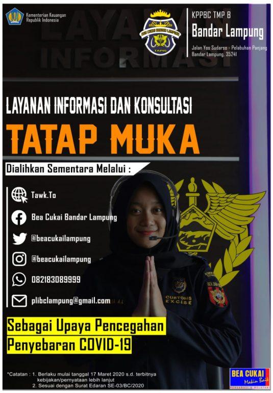 Pengalihan Sementara Layanan Informasi dan Konsultasi Bea Cukai Bandar Lampung